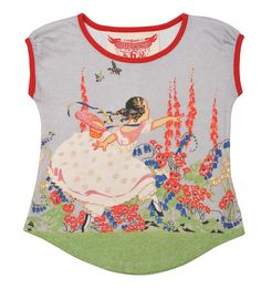 Classic Paper Wings.  This beautiful tee with skipping girl print is true Paper Wings style.   www.purely4kids.com.au