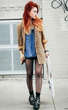 Plaid Jacket, Denim Shirt, Black Shorts