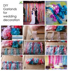 DIY - GARLANDS FOR WEDDING DECORATION Bright garlands can be hung in the wedding arch or to decorate a space behind the table of the newlyweds or dessert table. The idea is very budget and simple. Everybody will be able to do such decorations. Detailed instructions here https://www.facebook.com/media/set/?set=a.721380324655157.1073741835.538527992940392&type=3
