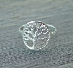 Engraved Tree Ring tree of life ring sterling by Hellomyflower, $34.99
