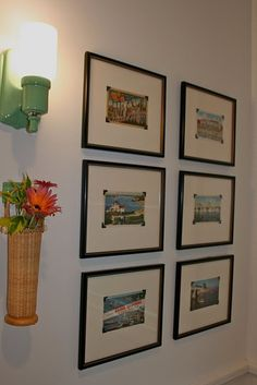 love it!! I've been collecting vintage postcards for over ten years! I love how they framed them. Mine are just in cheap IKEA frames