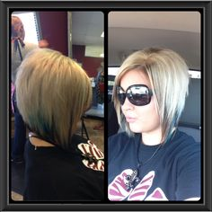 Stacked bob with a hint of turquoise !!!