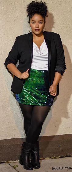 Plus Size Sequin Skirt - Plus Size Fashion for Women #plussize