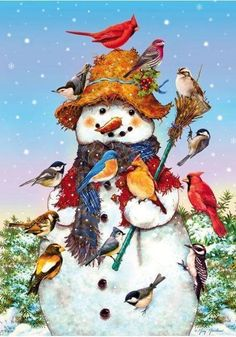Two of my favourite things....snowmen and birds