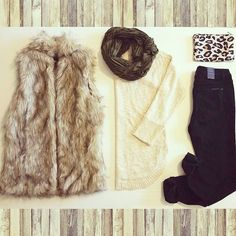Sneak peak inside a subscriber's #StyleBox #6 in California!  Fur vest + cream sweater + black skinny jeans + olive infinity scarf = The perfect fall outfit❤! #california #subscriptionbox #fur #fallfashion #ootd #layers #flatlay #skinnyjeans #sweater #infinityscarf #schoolflow #ladiesstylebox #autumn