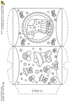 A colorier, la pochette de noël avec la chaussette et les clochettes