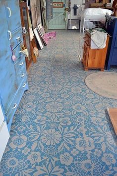 Royal Design Studio Skylar's Lace Floral Stencil on a plain cement floor. I Love this Lace stencil Floor Cloth, Floor Rugs, Painting Cement, Stenciled Floor, Floor Stencil, Floor Art, By Any Means Necessary, Painted Floors, Painted Furniture