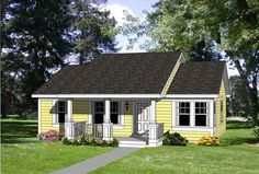 Country Elevation of Plan 94372. 1064 sqft floor plan, 3 bedroom, porch, house