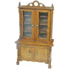 RARE Antique Schneegas Doll House Stepback Cupboard China Cabinet