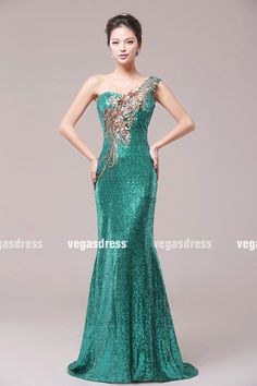 2014 new Custom made green one shoulder sequins lace by vegasdress, $169.99