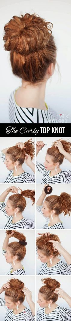 The Curly Top Knot Hairstyle Get In 5 Minute