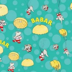Takes me back to my childhood Babar The Elephant Skydiving Cotton Fabric (Remnant House, Harrogate)