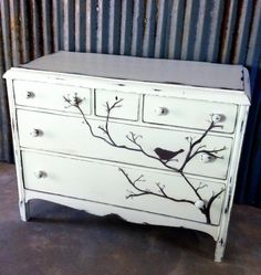 Beautiful Bird Branch Dresser in vintage furniture paint