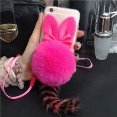 Cute Cat Ears Warm Rabbit Fur Ball Tail Soft Case for iPhone 7 Plus 5.5 inch