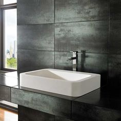 A beautifully Simple design, the Kole 600mm by 415mm rectangular basin is made from Stone Resin material and finished to allow a modern clean look if displayed with counter top or wall mounted tap  The Stone Resin range is Brand New and exclusive to us at Clickbasin. Rectangular with straight walls, with pleasantly rounded corners wall, the Kole basin offers something a little different to the traditional rectangular basin. It is supplied in a Pure White colour. The Stone Resin material gives a Square Bathroom Sink, Narrow Bathroom, Bathroom Basin, Small Bathrooms, Cloakroom Sink, Modern White Bathroom, Countertop Basin, White Countertops, Bathroom Countertops