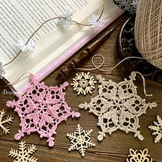 Ravelry: Winter Hearts Snowflake pattern by Julia Hart Crochet Christmas Ornaments, Christmas Crochet Patterns, Crochet Snowflakes, Snowflake Pattern, Christmas Crafts, Christmas Stuff, Cotton Crochet, Thread Crochet, Crochet Crafts