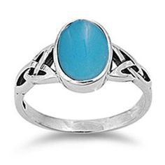 Sterling Silver Ring W/ Turquoise Stone (Oval)(Face Height: 8mm / Band Width: 2mm) (Jewelry)  http://www.1-in-30.com/crt.php?p=B007S226TQ  B007S226TQ
