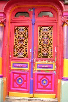 ~ very colorful doors ~ Grand Entrance, Entrance Doors, Doorway, Cool Doors, Unique Doors, Door Knockers, Door Knobs, Doors Galore, When One Door Closes