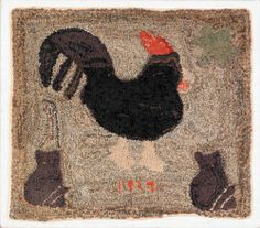 American hand hooked 1929 Rooster & Cat rug.  I'm noticing a lot of chicken and cat rugs.