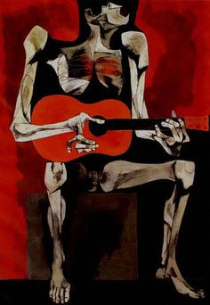 El Guitarrista			Oswaldo Guayasamin - by style - Expressionism