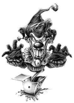Evil Clown Tattoos, Skull Tattoos, Body Art Tattoos, Wicked Jester, Evil Jester, Evil Clowns, Scary Clowns, Arte Horror, Horror Art