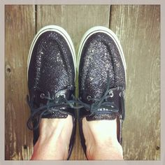 Sparkly Sperry Topsiders adding to my wardrobe of black shoes.  #nevertoomanyblackshoes
