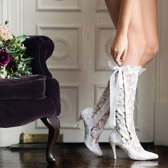White Wedding Boots - Handmade White Lace Wedding Boots from House of Elliot - Worldwide shipping! #weddingboots #whitecowboyboots