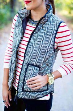 Herringbone vest with a sweater