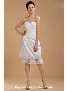 Taffeta Sweetheart Knee-Length A-line Wedding Dress with Ruffle