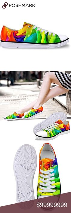 Low-top rainbow colored rose print sneakers casual low top light weight canvas women's fashion sneakers very stylish and comfortable. Brand new no box Removable sole  More pics coming Shoes Sneakers