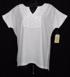 St Johns Bay Top Size S White Cotton Modal Solid Cap Slv Crochet Notched Neck - This stylish womens crochet-trim notched neck top   features shoulder seam ruching and a high-low hem.
