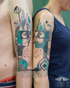 Geometric Shapes and Angular Faces Combine in New Salvaged Wood Murals, Assemblages, and Tattoos by Expanded Eye Arm Tattoo, Body Art Tattoos, Sleeve Tattoos, Tattoo Art, Fish Tattoos, Symbolic Tattoos, Unique Tattoos, Modern Tattoos, Geometric Line Tattoo