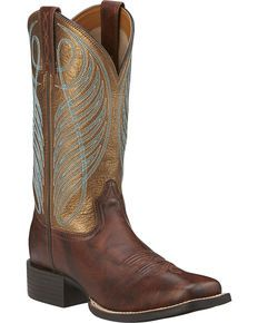 Ariat Womens Round Up Cowgirl Boots -Square Toe, Dark Brown