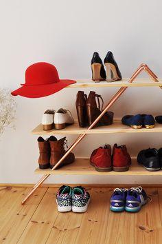 Schuh- oder Stellregal aus Kupfer und Holz - selber bauen. Dreiecks-Form…