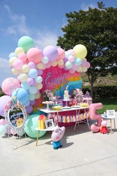 Pin on Awesome Party Ideas Birthday Goals, Pig Birthday, Rainbow Birthday Party, 1st Birthday Parties, Peppa Pig Balloons, George Pig Party, Pastel Balloons, Kids Party Decorations, Party Ideas