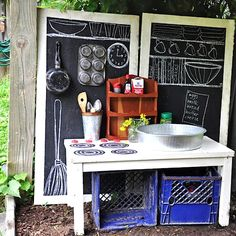 MUD PIE STATION For in the greenhouse... maybe with a real sink for washing veggies from the garden.  backyard activity center for kids with mini kitchen