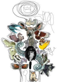 #ZOO #art #grafika #arts #graffity #street art #berr #bird #Fox #swan #owl #fitchet #eagle #doe #king #octopus #rabbit