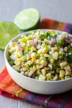 Chipotle Corn Salsa Copycat Chipotle Corn Salsa is the ultimate salsa of sweet tangy and spicy! Combining fresh corn spicy peppers and tangy lime juice this Chipotle Corn Salsa recipe is the best corn salsa to add to any meal. White Corn Salsa Recipe, Homemade Corn Salsa Recipe, Chipotle Corn Salsa, Sweet Corn Salsa, Chipotle Burrito, Lime Recipes Healthy, Chipotle Copycat Recipes, Mexican Food Recipes, Salad Recipes