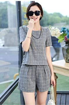 Boat Neck Plaid Top Buttoned Shorts Set from Parker Lane Styles. Fashion 101, Minimal Fashion, Couture Fashion, Korean Fashion Fall, Autumn Winter Fashion, Blazer Outfits, Chic Outfits, Jumpsuit Dress, Playsuit