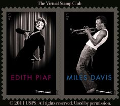 US Stamps - Edith Piaf & Miles Davis