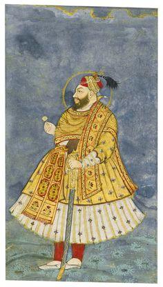 Sultan Abu'l Hasan Qutb Shah of Golconda Mughal Miniature Paintings, Mughal Paintings, Islamic Paintings, Indian Paintings, King Of India, King Drawing, Madhubani Art, Mughal Empire, Indian Artist