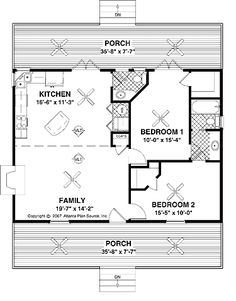 Floor Plans AFLFPW02101 - 1 Story Country Home with 2 Bedrooms, 1 Bathroom and 953 total Square Feet