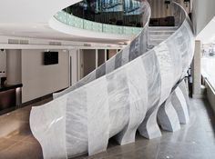 Final encore - Mark Humphrey not sure i crazy love all elements of this but it's very interesting for what can be done Architecture Awards, Interior Architecture, Interior Design, Marble Staircase, New Saints, Stone Sculpture, Convention Centre, Stairs, Flooring