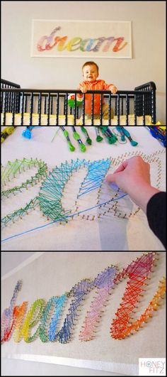 The best of DIY String Art Crafts Kids - Crafts Kit comes with the highest quality embroidery floss, HAND sanded and HAND stained wood board, metallic wire nails, pattern template, and easy instructions String Art Diy, String Art Tutorials, String Art Letters, Crafts To Do, Arts And Crafts, Arte Linear, Dollar Store Crafts, Craft Kits, Diy Art