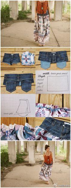 alte Jeans in Rock abwandeln