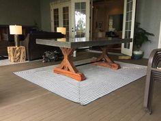 Medida mesa de hormigón con Base de madera