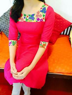 Pink Kirti with a contrast motif cloth Salwar Neck Designs, Kurta Neck Design, Dress Neck Designs, Kurta Designs Women, Blouse Designs, Kurta Patterns, Dress Patterns, Style Patterns, Churidhar Designs