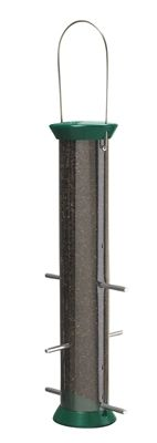 15 in. Grn Metal Thistle Fdr, 6 ports. Zinc die cast tops, bases and ports- to last a lifetime Stainless steel wire- squirrels can't chew Snug fitting sliding cap- easy for you to lift but hard for squirrels Top assembly- easily removed for cleaning Contoured base- keeps seed within reach. #nyjer #birdfeeder