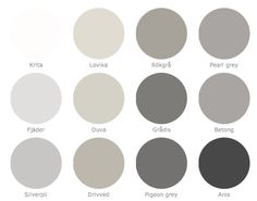 I love a good warm grey palette! - Model Home Interior Design Wall Colors, House Colors, Paint Colors, Shades Of Gray Color, Grey Colors, Colours, Interior Paint, Interior Design, Grey Palette