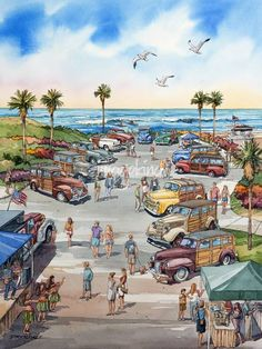 """""""Wavecrest""""+by+Bill+Drysdale,+Southern+California+//+The+Wavecrest+watercolor+was+the+featured+image+this+year+at+the+largest+woodie+show+in+the+world+held+on+Moonlight+Beach+in+Encinitas,+CA.++The+original+has+been+sold,+but+signed+and+numbered+limited+edition+reproductions+are+available.+//+Imagekind.com+--+Buy+stunning+fine+art+prints,+framed+prints+and+canvas+prints+directly+from+independent+working+artists+and+photographers."""